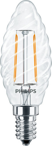 Philips LED-Lampe CLA LEDCandle ND 2-25W ST35 E14 827 CL / EEK: A++